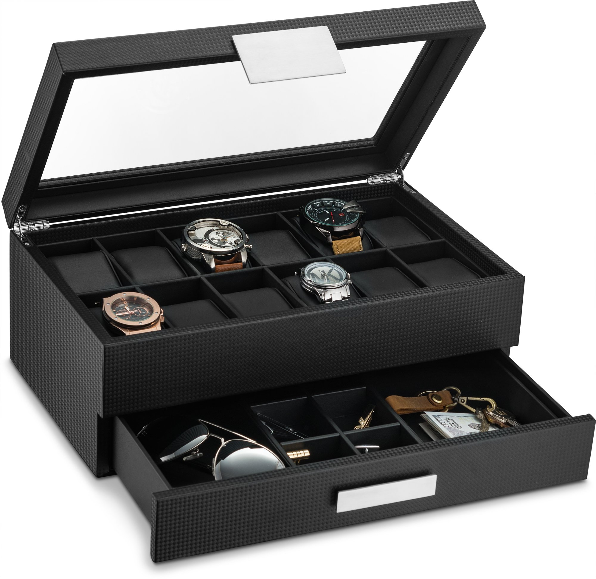 818631432 Get Quotations · Watch Box with Valet Drawer for Men - 12 Slot Luxury Watch  Case Display Organizer,