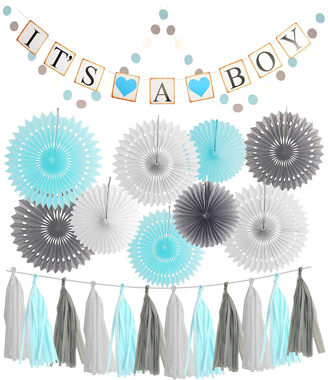 Blue White Grey Baby Boy Baby Shower Decorations / Grey Elephant Baby Shower, Blue Baby Shower Decorations For Boy - Its A Boy Party Decor, Blue Grey and White Baby Shower Decorations for Boy