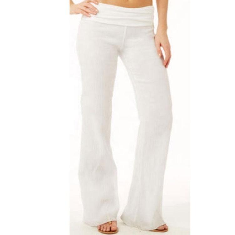2cb1cd58e حار الجملة عالية الخصر الصلبة اللون الأبيض النساء الكتان الشاطئ دونا  السراويل