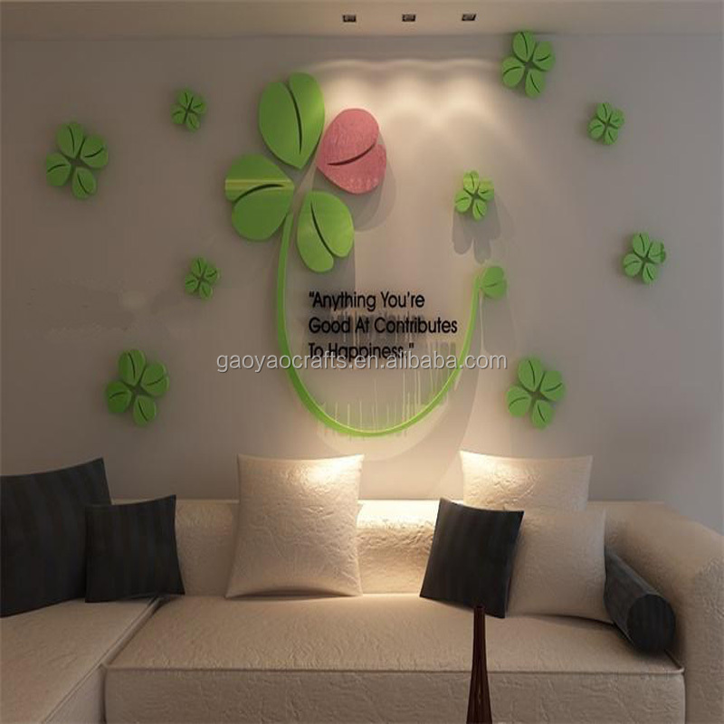 Happy lucky four-leaf clover acrylic wall stickers living room TV background wall sticker Home DIY Self-adhesive Removable