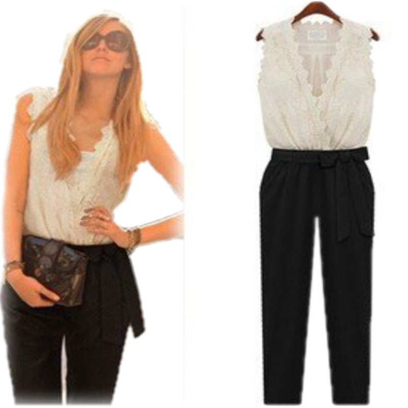 a9ff3d09c02 Buy HOT ! Women Jumpsuit Tank Sleeveless Overall Ladies  39  Casual  Jumpsuits Black Pants Rompers White Lace Top Belt Plus Size XXL in Cheap  Price on ...