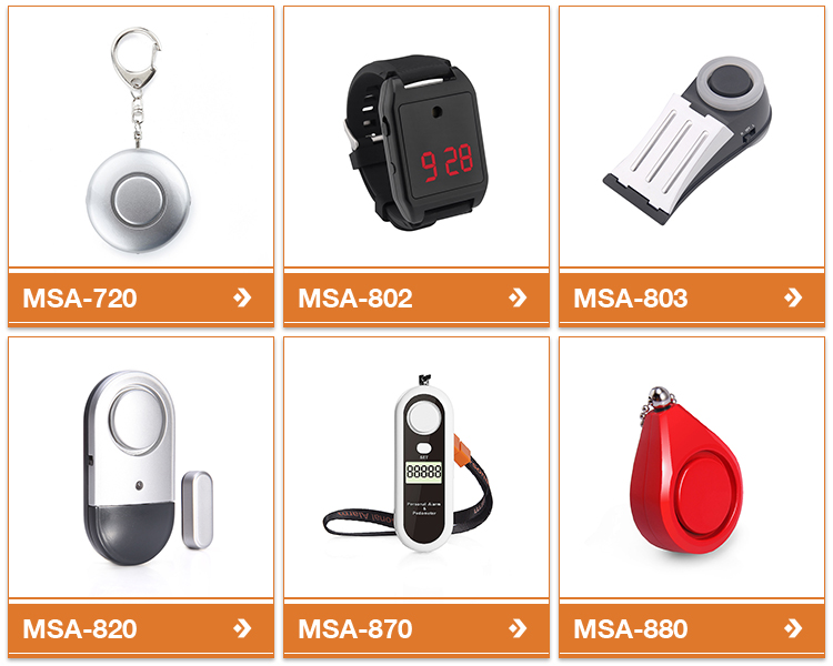 Meinoe personal Alarm Lady Self Defense Protection Alarm With Key Ring Light Safety Alarm Support OEM Logo Package