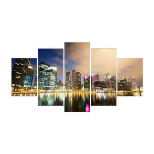 5 pieces cityscape night light canvas painting picture unframed wall decorating ideas painting