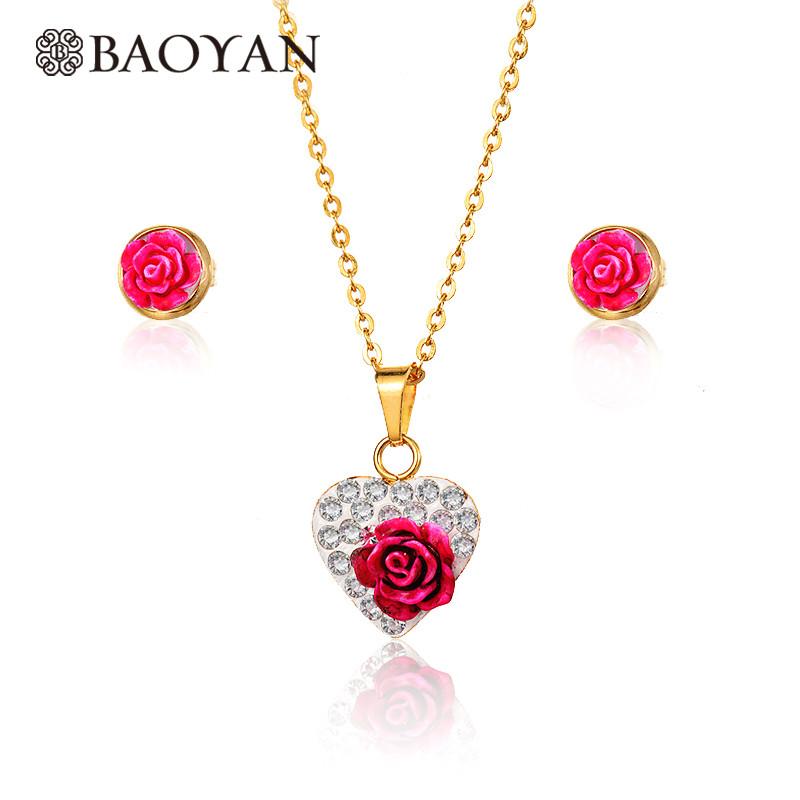 81951cc1cfdd juego joyas de rosa colgante y aretes en dorado acero inoxidable para mujer
