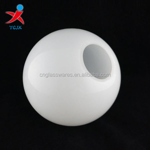 mouth blown opal white round glass globe lamp shade light