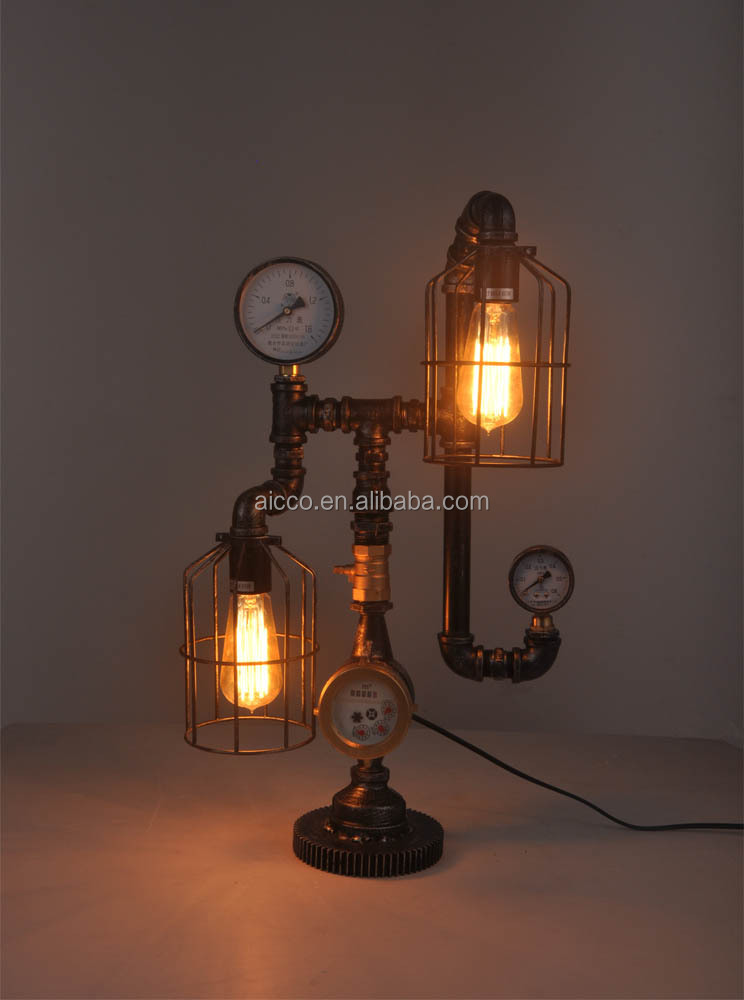 Vintage Table Lamp Industrial Pipe Table Lamp Edison Two Bulbs ...