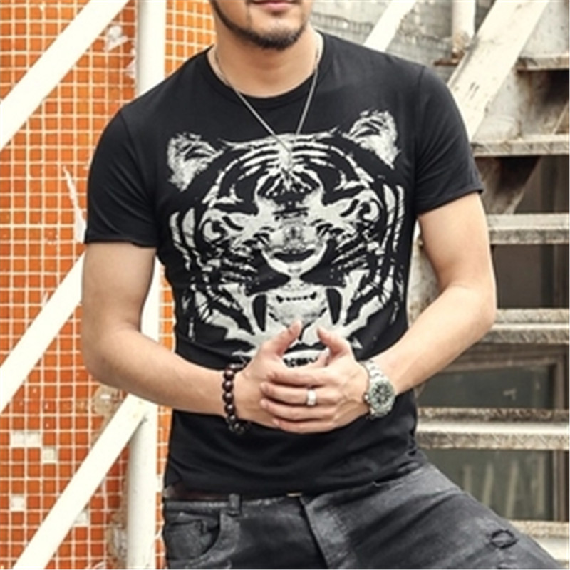 men designer t-shirts fashion Causal Funny 3D T Shirt brand Men's Tiger Print Sewing Short Sleeve 100% Cotton new 2017