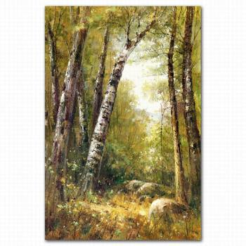 Frame Palet Knife Acrylic Wall Decor Forest Scenery Oil Painting ...