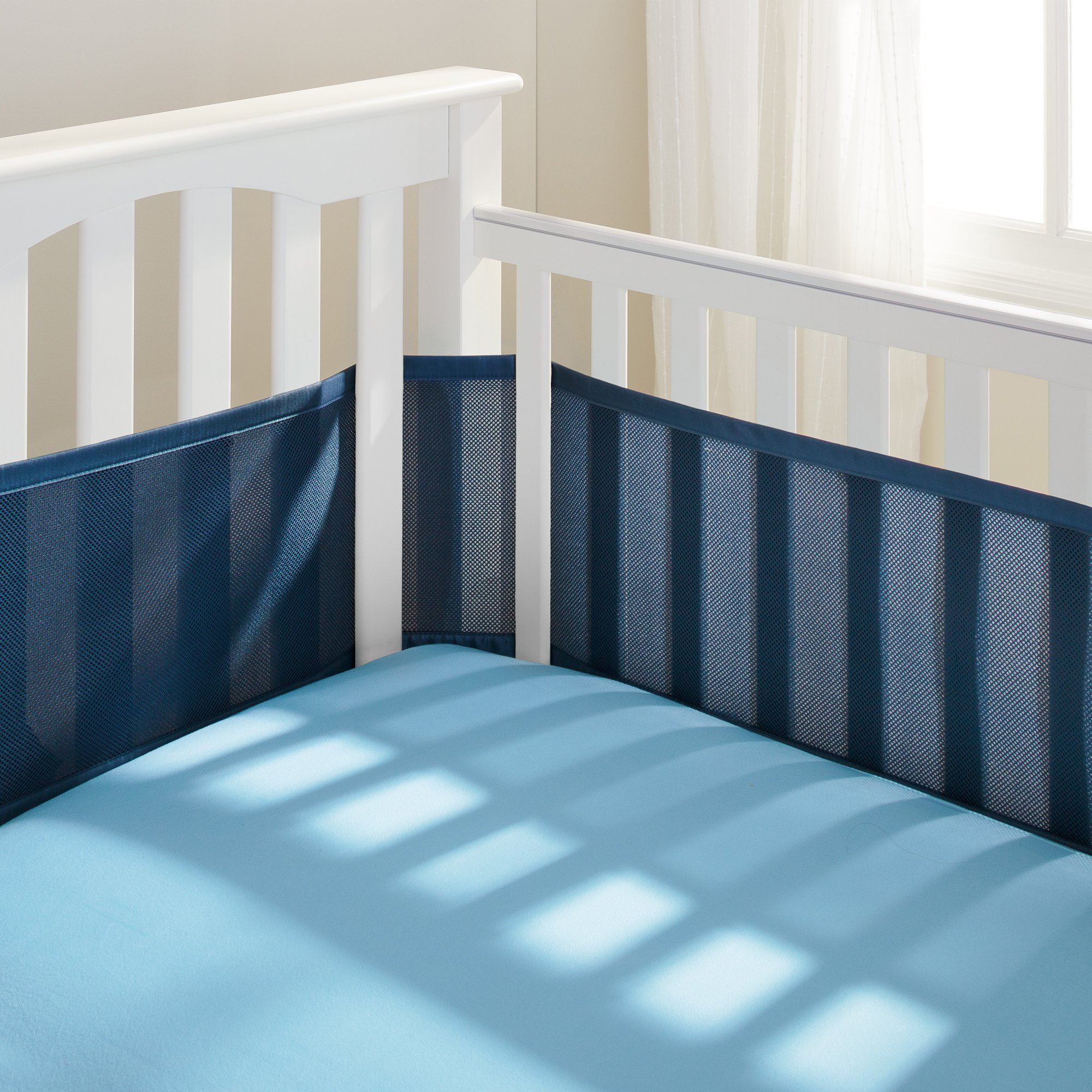 Baby Breathable Pad Crib Bumper Pad Prevents Babies from Getting Stuck in Crib Slats Fits 4 Sided Slatted /& Solid Back Cribs