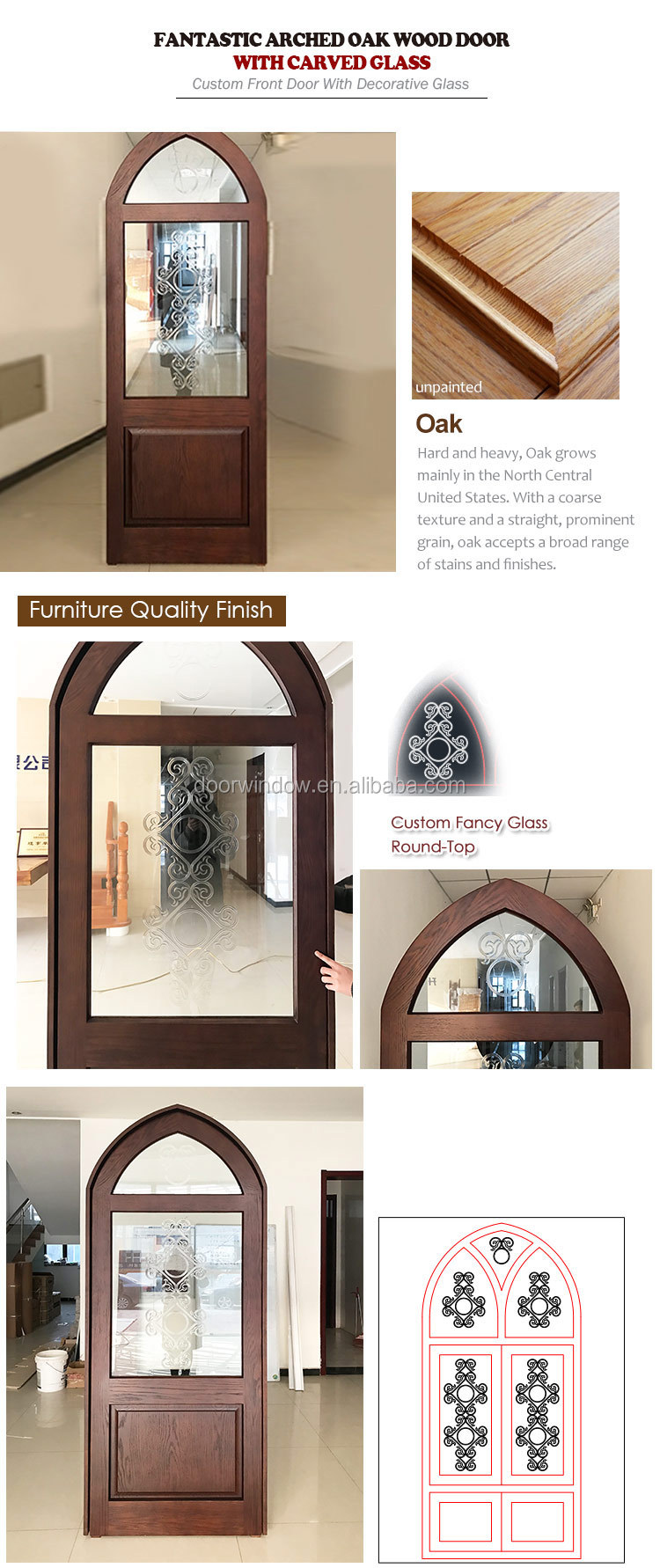 Solid wood front door with top glass and grilles design entry door for home