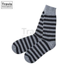 Custom Bamboo Socks with Two Tone Stripes and Classic Crew Height