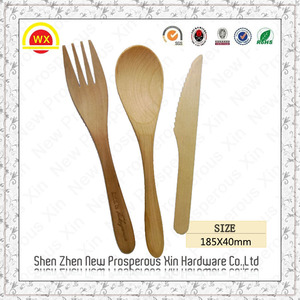 Custom tableware engraved disposable wooden spoon fork knife
