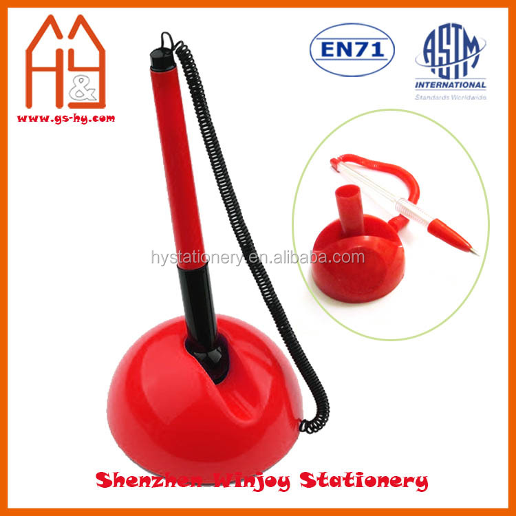 Cheap bank table ball pen, plastic custom desk pen with chain and stand