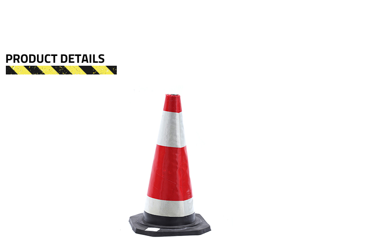 Black Square Base Reflective Rubber Traffic Safety Cone
