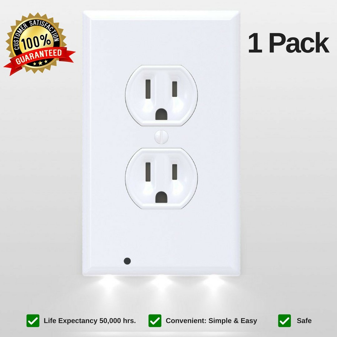 Outlet Covers With LED Lights LED Night Light Wall Outlet Duplex Outlet Covers Wall Plate Electrical Outlet Wall Plate Frame Outlet Cover Power Outlet Wall Plates Outlet Covers White (1 Pack)