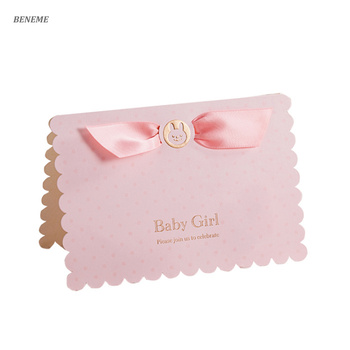 New Arrival 3D Fold Baby Born Celebration Fancy Online Birthday Cards Invitation With Ribbon