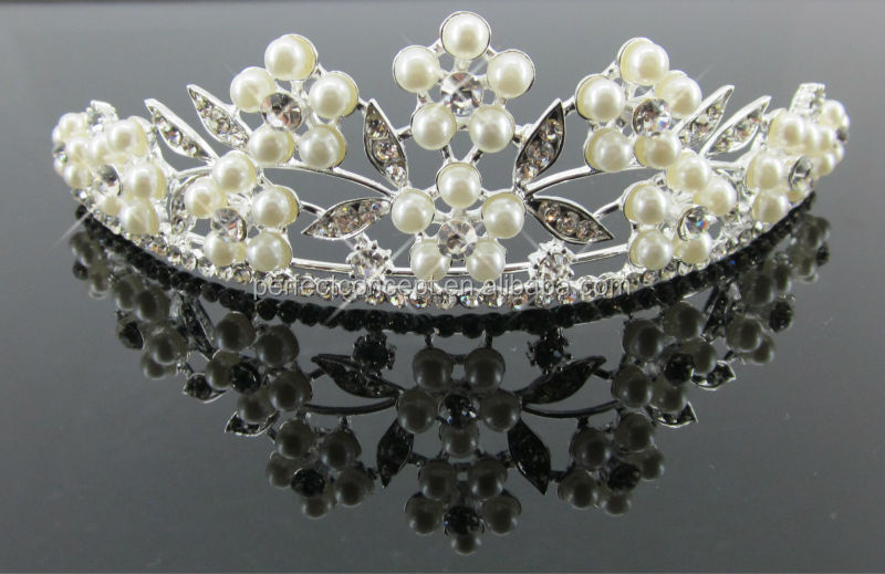 fashion glass stone with cream plastic pearl bridal tiaras wedding jewelry IMG_5667