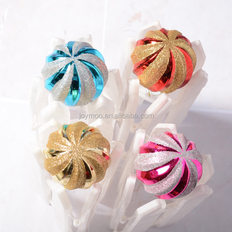 Factory Sales 8cm Glitter Decorative Plastic Christmas Ornaments Ball