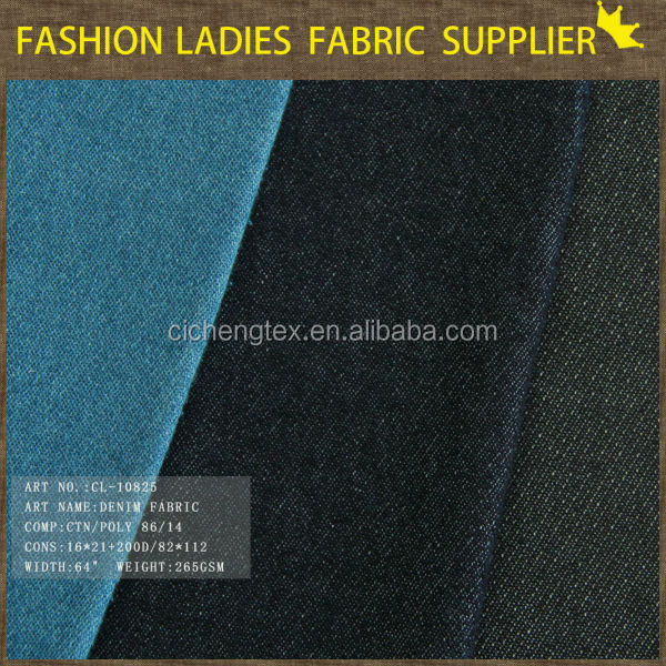 shaoxing textile top quality cotton elastane denim 100% denim fabric broken twill denim fabric
