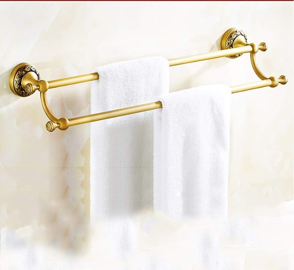 EQEQ Towel Rack Towel Rack/Single Rod Double Rod Full of Copper Antique Heel Bath Rooms Towel Rack to The Wall Assemblies Bath Rooms Towel Holder (Style: 1)