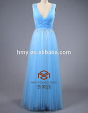 Wholesale New Arrival Sexy V Neck Evening Dresses Sequins BeadingsTulle Blue Prom Dresses HMY-D437