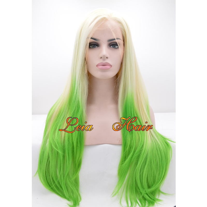 Get Quotations · Long Blonde Wig Synthetic Lace Front Ombre Wig Heat  Resistant Kanekalon Straight Hair Glueless Green Cosplay 352d742143