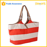 Wholesale 2016 Best Quality Summer Stylish Stripe Canvas Handbag With Leather Handles
