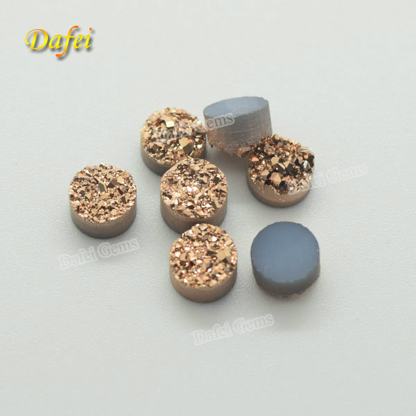 Wholesale 6mm Round Rose Gold <strong>Natural</strong> Agate Druzy Stone