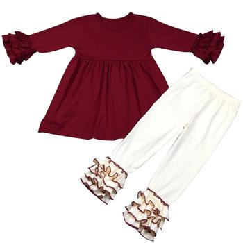 b782388506670 fashion children clothes girls solid icing top dress with ruffle pants kids  clothing set winter clothes