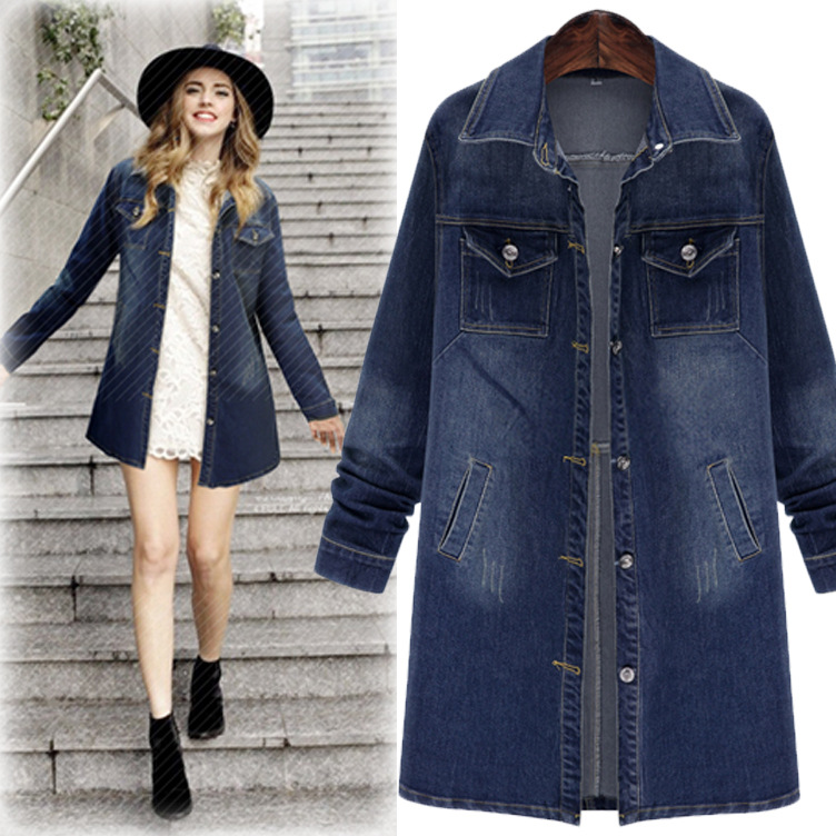 C73554A Women european fashion coats long denim jacket for women