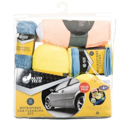Microfiber Car Cleaning Set with Tire Brush mitt sponge towel