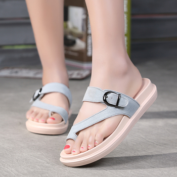 Summer Student Sweet Buckle Set Without Buy Heels Belt Heel Bottom Female Ladies Low Slippers Shoe Leather Thumb Cold Sandals Flat Girl xrtdshQC