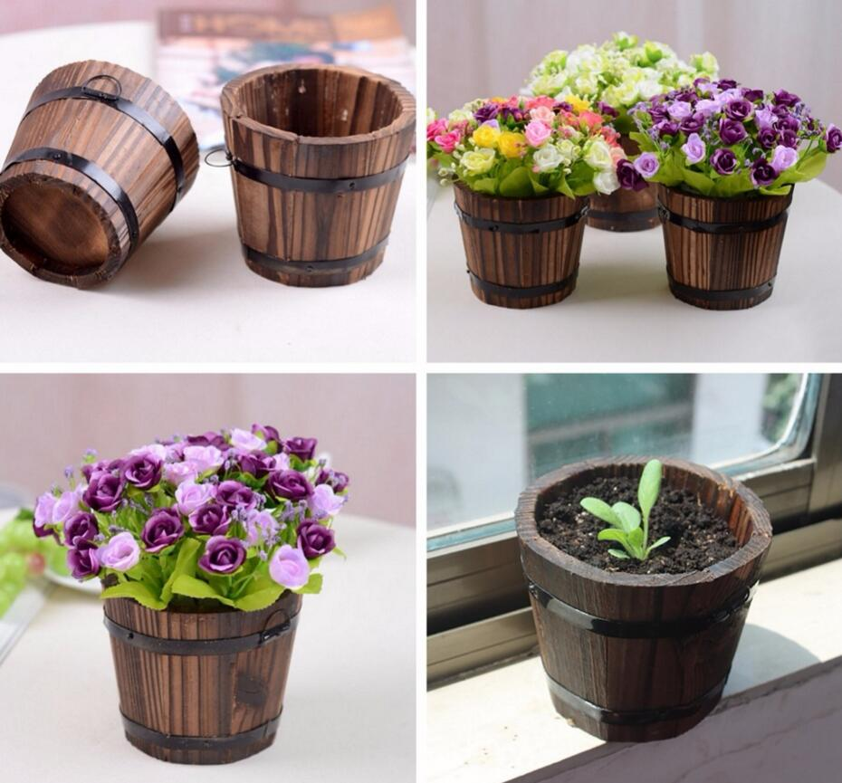office flower pots. Home Garden Round Wooden Flower Pots Retro Planter Barrel Office Outdoor Decors O
