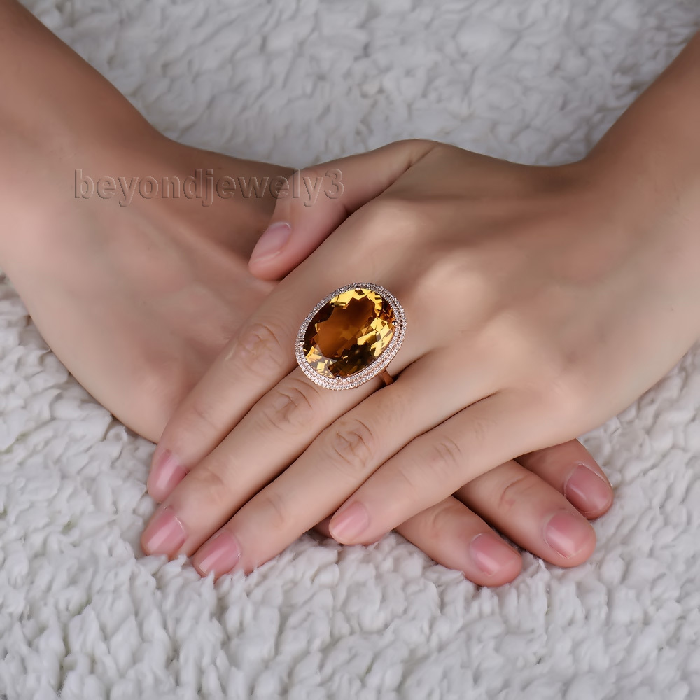 New Design 14Kt Rose Solid Gold Diamond Yellow Citrine Wedding Ring ...