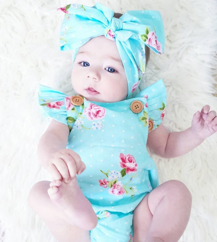 GG211A Cute baby bubble sunsuit baby girl onesie rompers with headbands