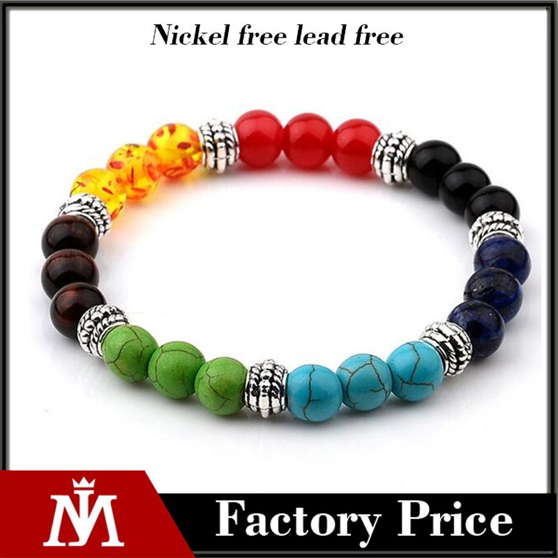 Natural colorful beads volcanic rocks turquoise agate women beads bracelet