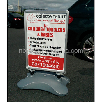 Aluminum 24x36 Water Base Snap Banner Large Stand Forecourt A Frame Sign Board With Wheels