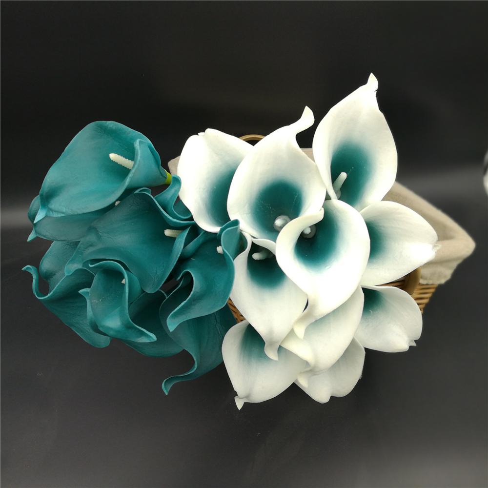 Oasis Teal Wedding Flowers Teal Blue Calla Lilies 10 Stem Real