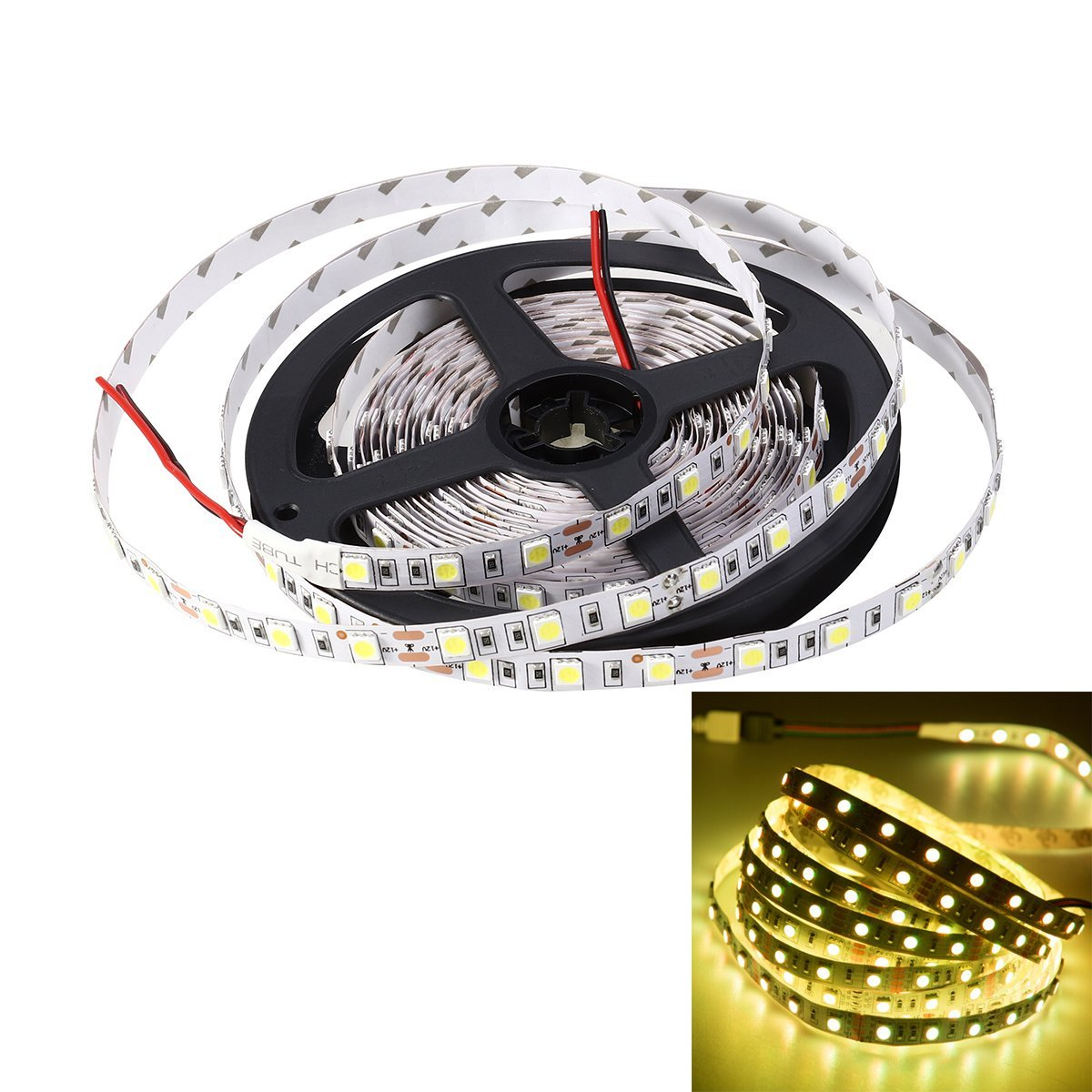 LEDMOMO 5M (16.4ft) Non-Waterproof Flexible DC 24V 300 SMD 5050 LED Strip Lights Lamp Outdoor Indoor(Yellow Light)