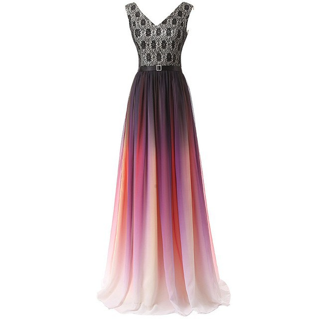 Colorful Chiffon Formal Dresses Panjang Partai Prom Evening Gown