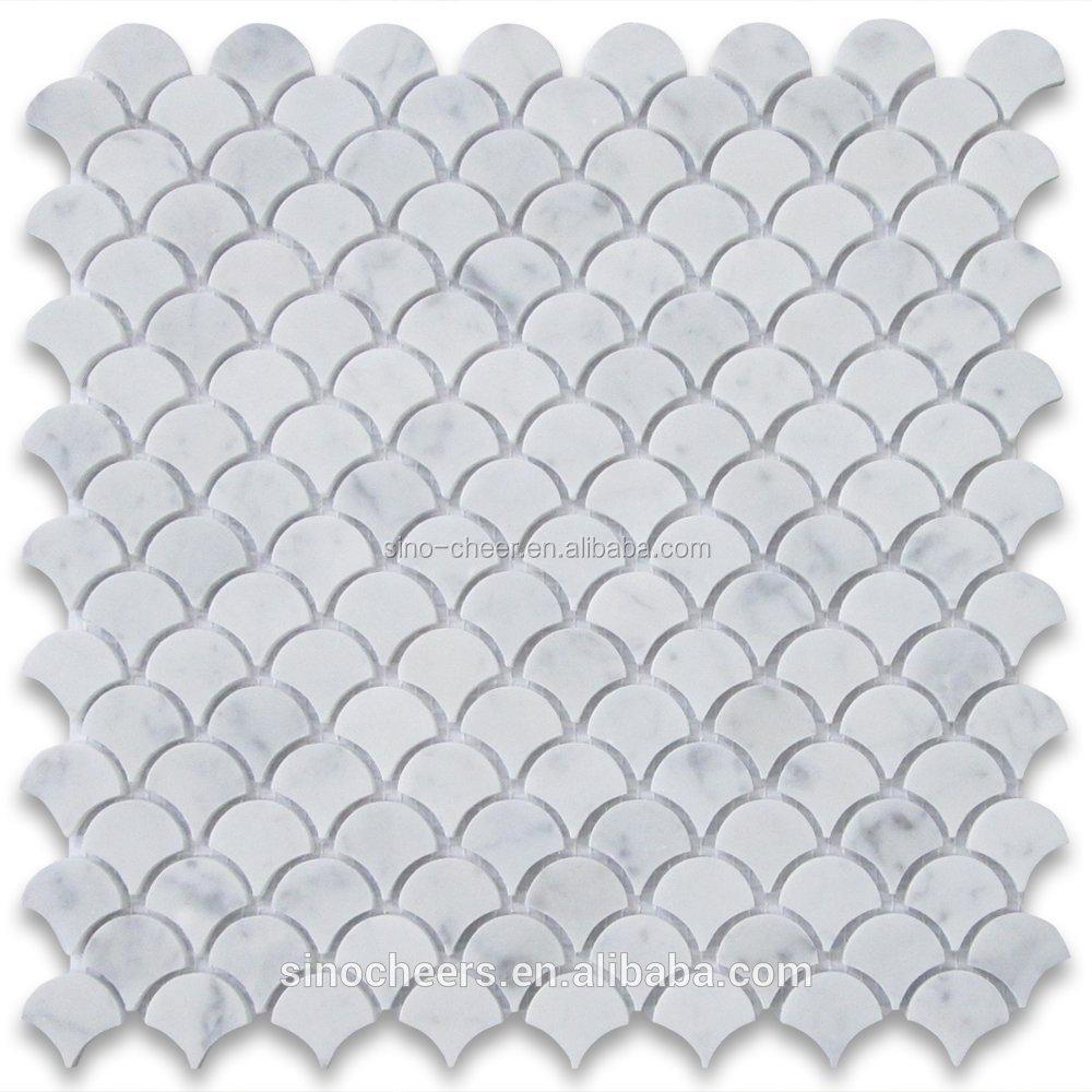 Asia Carrera Marble carrara white italian carrera marble medium fan shaped fish scale mosaic  tile polished - buy fish scale mosaic tile polished,fan shaped  tiles,carrara