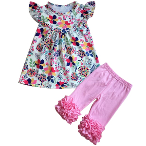 Floral print baby clothes children clothing sets baby girl clothes dresses