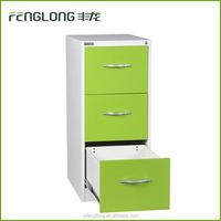 Luoyang office 3 drawer light green metal file cabinet