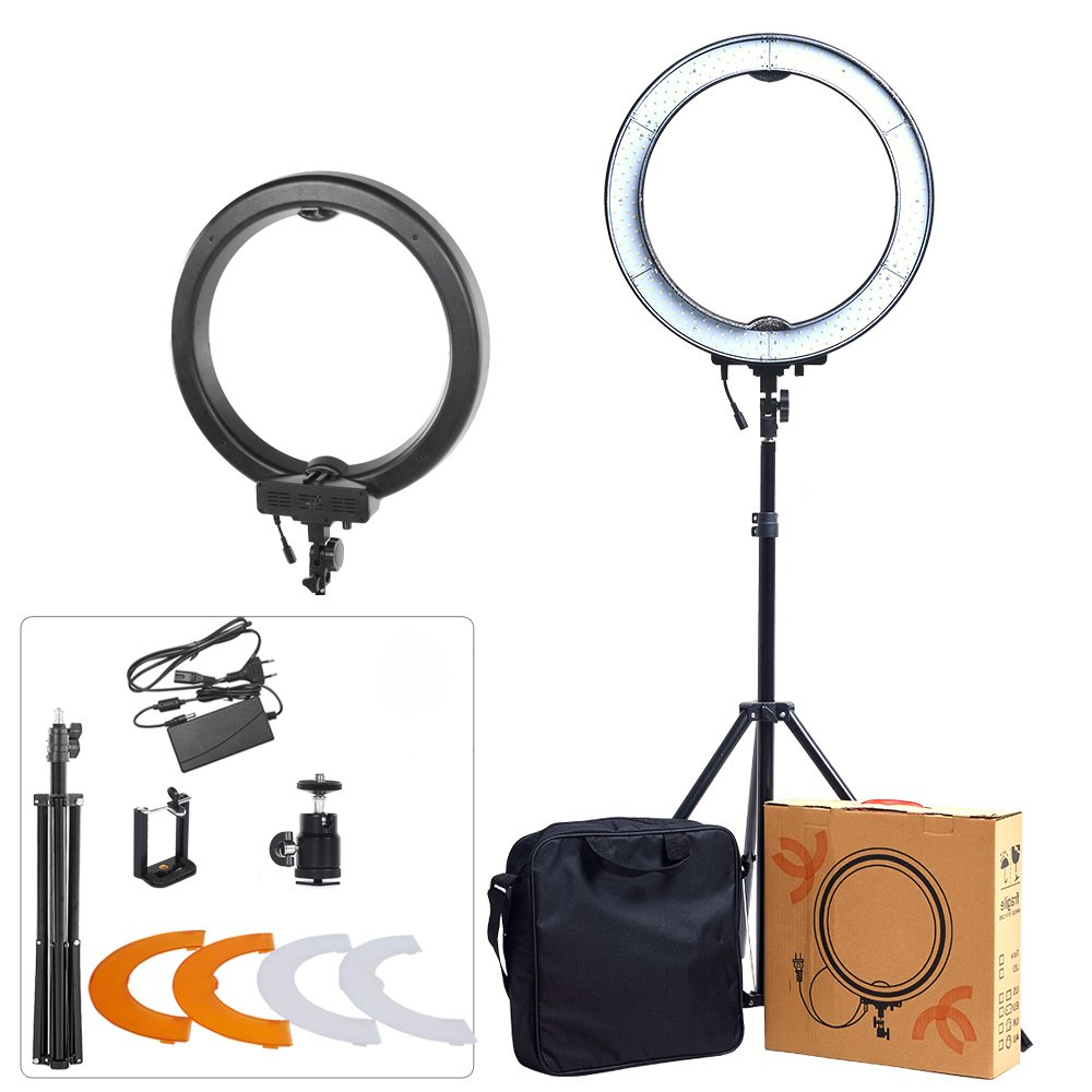 "ASHANKS 18"" SMD Outer 55W 5500K 240 Ring Light Kit LED Dimmable Camera Photo Ring Video Lights+Plastic Color Filter Set for Smartphone, Vine Self-Portrait Video Shooting(Black)"