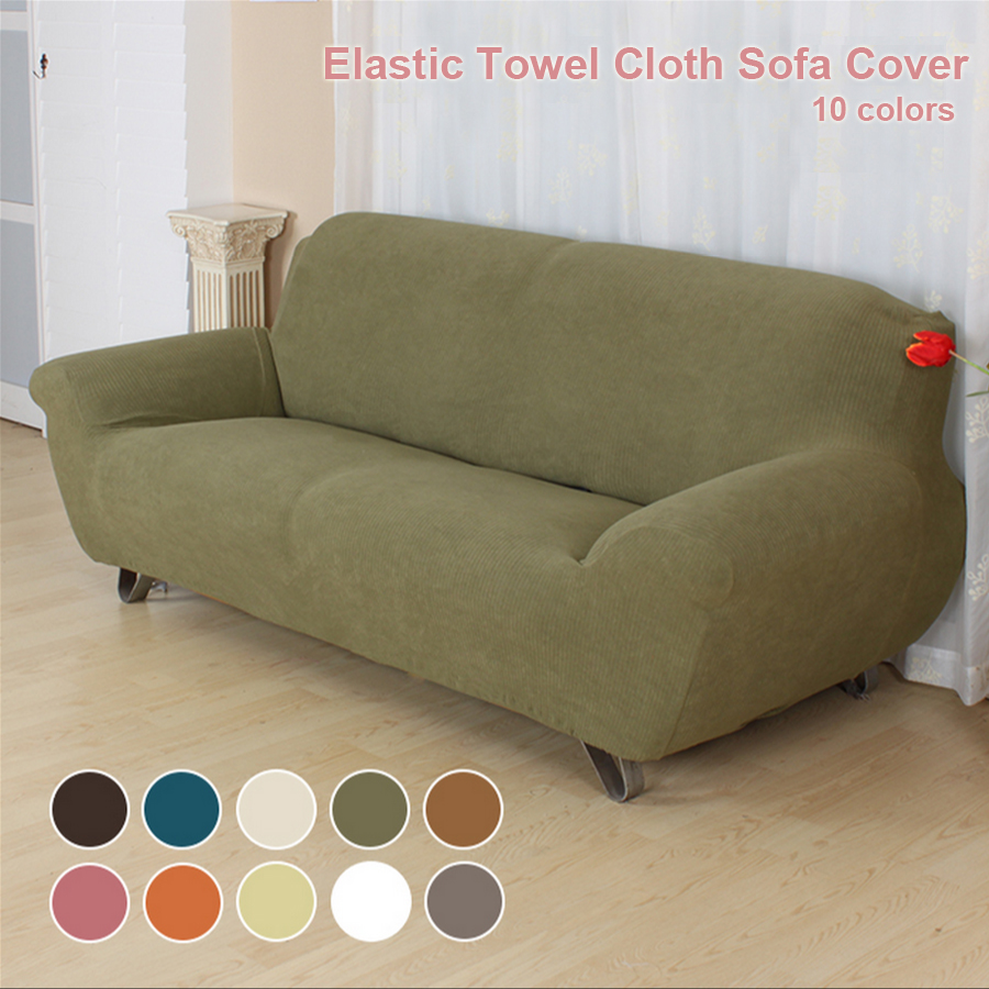 Pure Color Elastic Towel Cloth Sofa Cover Couch Spendex
