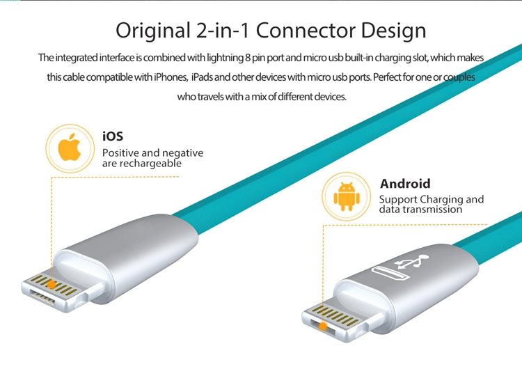 HENGQIANG NEWEST Product 2 in 1 data flat usb zinc alloy cable