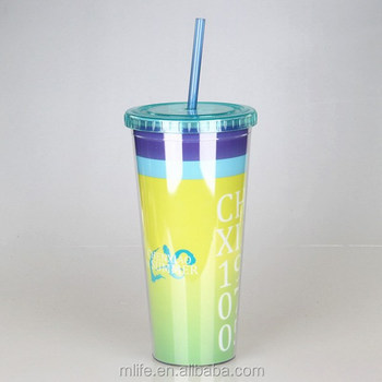 Plastic Straw Cups with Logo Customization
