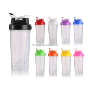 Plastic Protein Shaker Water bottle with 304 Stainless Steel Mix ball
