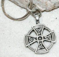 SOLAR keychain CROSS Pewter WICCA KEYCHAIN IRISH key chain
