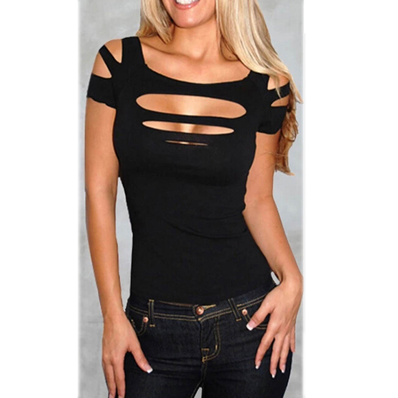 Wholesale Ladies Women Charming Sexy Keyhole Ripped Slashed Black ... 5ef5f55e182d